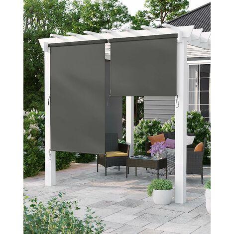 1.6 x 2.5m Store Vertical pour Balcon Terrasse avec Coffre Gris Inérieur ou Extérieur Paravent Pare-Soleil Brise-Vue Imperméable Toile en Gris foncé GSA165GY - Gris foncé