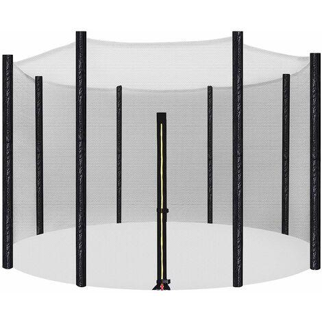 Filet de protection, Filet de sécurité pour Trampoline, Diamètre 305cm, Filet de sécurité pour 8 poteaux Droits STN10FT - Noir