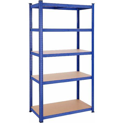 Étagère à 5 niveaux, 200 x 100 x 50 cm, charge totale 875 kg (175 kg/niveau), Étagère de garage, grande charge, planches réglables, cadre en acier renforcé, Bleu GLR050Q01 - Bleu