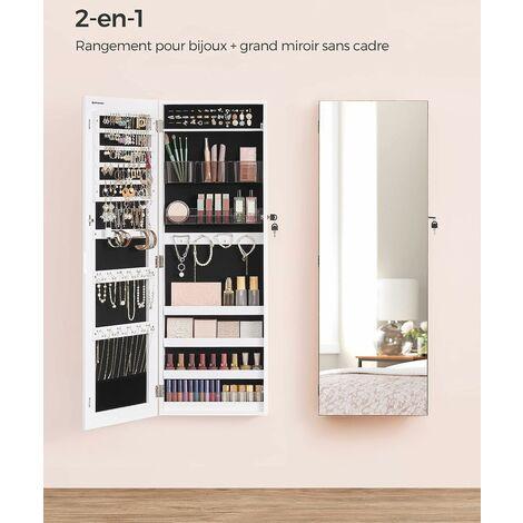 Armoire à bijoux murale, Range-bijoux avec 2 organisateurs cosmétiques, à suspendre, miroir psyché sans cadre, avec serrure et clés, Blanc JJC001W01 - Blanc