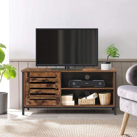 VASAGLE Meuble TV pour télévision jusqu'à 55 pouces, 1 placard avec porte persienne, 2 compartiments ouverts, pour salon, style industriel, Marron Rustique et Noir par SONGMICS LTV049B01 - Marron Rustique et Noir