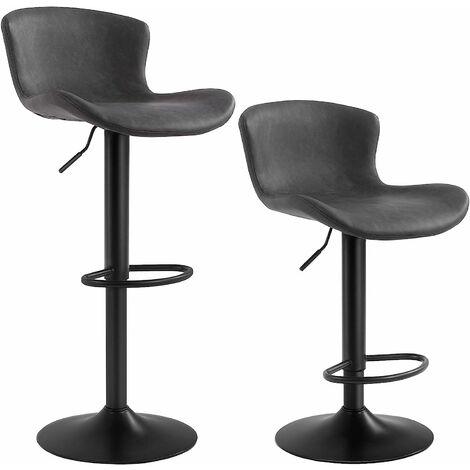 Lot de 2 Chaises de bar, Tabourets hauts, Siège de cuisine, hauteur réglable, avec dossier et siège rembourré, repose-pieds, surface matelassée en PU, charge 120kg, Noir LJB074B01 - Noir