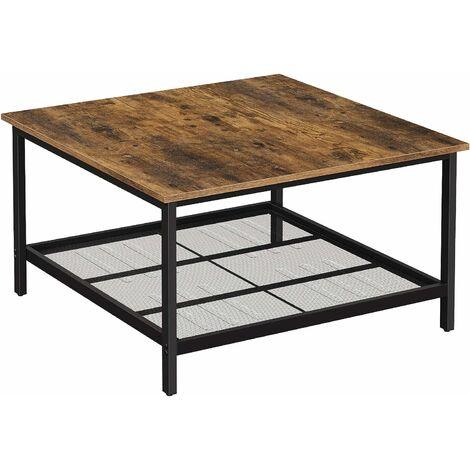 VASAGLE Table basse, Table de salon, grand dessus de table carré, cadre en acier robuste, avec étagère en maille, style industriel, pour salon, 80 x 80 x 45 cm Marron Rustique et Noir par SONGMICS LCT065B01 - Marron Rustique et Noir