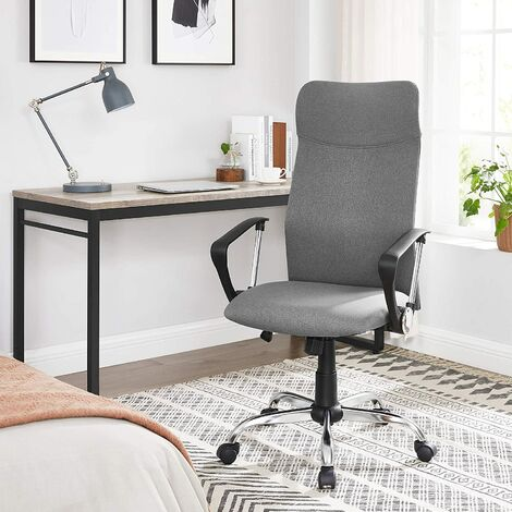 Fauteuil de bureau, Chaise ergonomique, Siège rembourré pivotant, en tissu, hauteur réglable, mécanisme basculent, charge 120 kg, Gris OBN034G01 - Gris