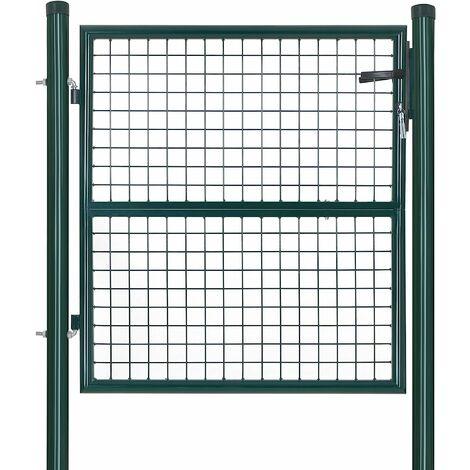 Portillon de jardin en acier galvanisé, Portail de jardin, Porte de clôture, avec serrure, poignée et clé, 106 x 150 cm (L x H), Vert GGD150G01 - Vert