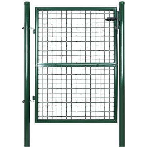 Portillon de jardin 125 x 106 cm avec serrure maille métallique Vert GGD175G - Vert