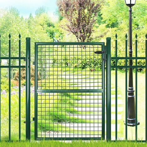 Portillon de jardin 150 x 106 cm avec serrure maille métallique Vert GGD200G - Vert