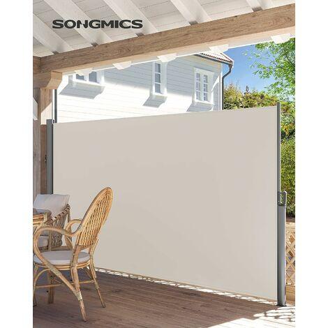 Store latéral 350 x 180cm Abri soleil Paravent extérieur rétractable extérieur brise vue pour terrasse 280 g/m² polyester Beige GSA185E - Beige