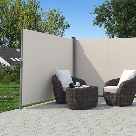Store latéral abri soleil 180 x 600cm latéral rétractable extérieur brise vue pour terrasse Certifié par TÜV SÜD Beige GSA360E - Beige