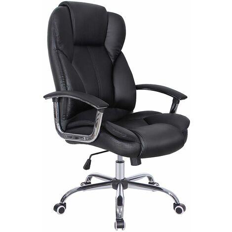 Fauteuil de bureau, Large assise rembourrée, avec Appui-tête, Hauteur réglable, Ergonomique, Noir OBG57B