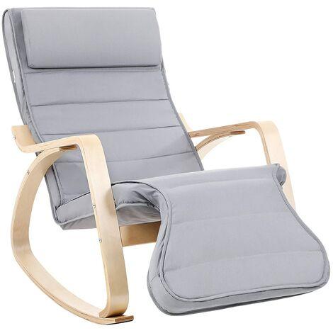 Fauteuil à Bascule, Rocking Chair, avec Repose-Pied, Réglable en 5 Niveaux, Charge Max 150 kg, Gris LYY42G