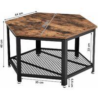 VASAGLE Table Basse Vintage, Table d'appoint, Table de Salon, Armature métallique Stable, Étagère de Rangement en Treillis, Hexagonal, Aspect Bois par SONGMICS LCT16X