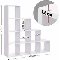 ÉTagère escalier, Meuble de Rangement, 10 Compartiments, pour bibliothèque, Salon, Chambre, Blanc, LBC10WTV1 - Blanc