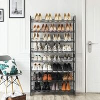 Étagère à Chaussures de 8 Niveaux, Ensemble de 2 étagères de chaussures Empilable de 4 Niveaux, Étagère de Rangement en Métal, Étages réglables, Noir LMR08B - Noir