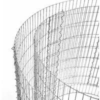 Gabion rond pour pierres, Panier à pierres métallique, maille fine 2,5 x 10 cm, acier galvanisé antirouille, 90 x 40 cm (ø x H), pour pierres de 10 cm, décoration jardin, Argent GGB479 - Grisargenté