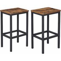 Lot de 2 Chaises de Bar, Tabourets Hauts de Style Industriel, pour Cuisine, Salle à Manger, Salon, Marron Rustique LBC65X - Marron Rustique