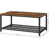 Table Basse, Table de Salon, avec Étagère en Maille, Large Espace de Rangement, Montage facile, Stable, Style Industriel, Marron Rustique LCT64X