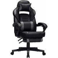Fauteuil gamer, Chaise gaming, Siège de bureau réglable, avec repose-pieds télescopique, ergonomique, mécanisme basculent, appui-tête, support lombaire, charge 150 kg, Noir et gris OBG073B03 - Noir et gris