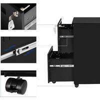 Caisson de Bureau Metal, avec 2 Tiroirs, Verrouillable, avec roulettes, pour Documents de Bureau, Dossiers Suspendus, Pré-Assemblage, 39 x 50 x 69,5 cm (L x l x H), Noir Mat OFC52BK - Noir Mat