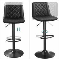 Lot de 2 Chaises de bar, Tabourets hauts, Siège de cuisine, hauteur réglable, avec dossier et siège rembourré, repose-pieds en métal, surface matelassée en PU, charge 120kg, Noir LJB073B01 - Noir