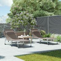 Chaise longue, Bain de soleil, Transat, grand modèle, 71 x 200 x 38 cm, charge 150 kg, appui-tête, dossier et parasol inclinables, pliable, pour jardin, Taupe GCB022K01 - Taupe