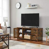 VASAGLE Meuble TV, Support télé avec portes persiennes, Rangement télévision ouvert, avec ouverture câbles, étagères réglables, pour téléviseur jusqu'à 43 pouces, Marron Rustique par SONGMICS LTV102X01 - Marron Rustique
