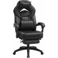 Fauteuil gamer ergonomique, Chaise gaming, Fauteuil de bureau, avec repose-pieds télescopique, appui-tête réglable, support lombaire, capacité de charge 150 kg, Noir OBG077B01 - Noir