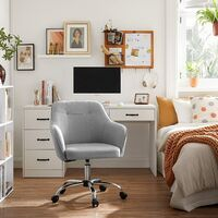 Fauteuil de bureau, Chaise pivotante confortable, Siège ergonomique, réglable en hauteur, charge 120 kg, cadre en acier, tissu imitation lin, pour bureau, Gris Clair OBG019G02 - Gris Clair