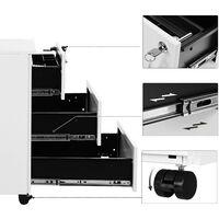 Caisson de Bureau Metal, Verrouillable, avec 3 Tiroirs, Rangement de Documents, Papeterie, Préassemblé, pour Bureau, Bureau à Domicile, 39 x 45 x 55 cm (L x l x H), Blanc OFC63WT - Blanc