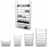 Étagère à Chaussures de 10 Niveaux, Organiseur à Chaussures, pour 50 Paires de Chaussures, pour Salon, Vestiaire, Entrée, Tissu Non tissé, 100 x 29 x 175 cm, Gris LSR10G - Gris