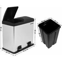 48L (2x24L) Poubelle de Cuisine Résistante avec pédales et 2 compartiments Tri Sélectif de recyclage en inox LTB48L - Argent