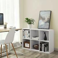 Meuble de rangement Etagère de 6 casiers Bibliothèque Rayonnage 65.5 x 30.5 x 97.5cm Blanc LBC203D - Blanc