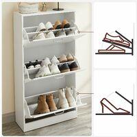 VASAGLE Meuble à chaussures à 3 abattants, Placard de rangement à 3 niveaux, 3 compartiments, pour petite entrée, salon, chambre, 60 x 24 x 120 cm (L x l x H), Blanc par SONGMICS LBC03WT - Blanc