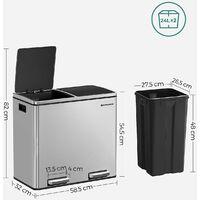 Poubelle de recyclage, Poubelle double seau, 2 x 24L, 2 Compartiments, Mécanisme tampon, Pédales, Couvercle, Acier inoxydable resistant aux empreintes digitales, Seau intérieur en plastique, Poignée de transport, LTB48NL - Gris métallisé