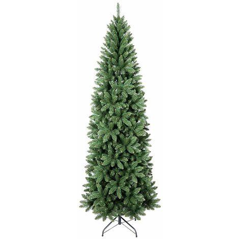 Albero Di Natale Stretto.Albero Di Natale Vail Slim In Pvc Di Altissima Qualita Effetto Realistico Verde 240 Cm 2558 0