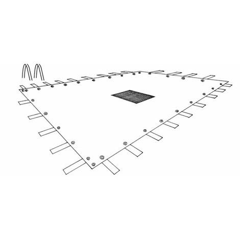 Bâche avec filet central pour Piscine Rectangulaire traitée Anti-UV 140gr/m2   8x14m