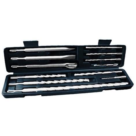 Coffret à maçonnerie 12 pieces Mix: forets/pointes /burins SDS