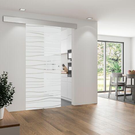 Porte coulissante intérieure Inova, 75 x 203 cm, verre de sécurité décor mistral, 3 poignées différentes, fermeture Softclose en option - Poignée ronde + Softclose