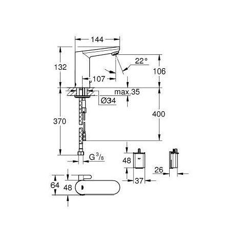 Miscelatore elettronico per lavabo Eurosmart Cosmopolitan Grohe | Cromato