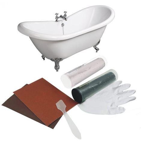 Kit riparazione vasca bagno tubature fori buchi resina auto crepe scheggiature
