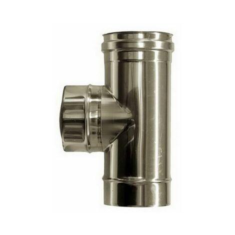 Curva gomito acciaio inox AISI 304 5//10 canna fumaria 90/° con ispezione 80mm