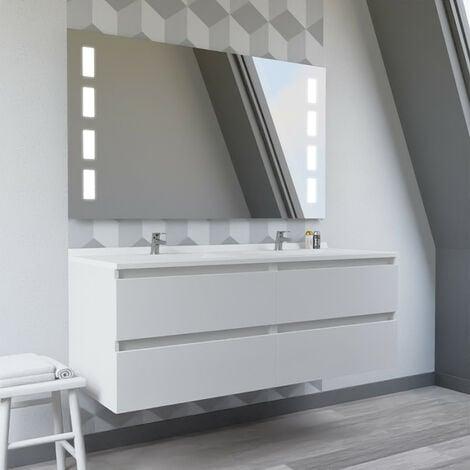 Meuble double vasque ARLEQUIN 140x55 cm avec plan vasque et miroir Prestige - Coloris au choix   blanc - blanc