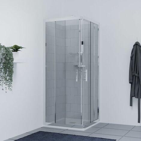 Porte de douche d'angle avec 2 coulissants NERINA - 80x80 cm