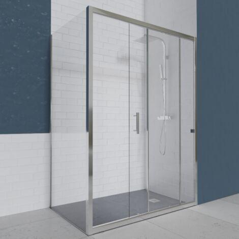 Porte de douche d'angle avec paroi coulissante NERINA - 120x80 cm
