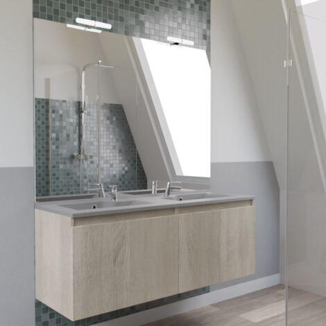 Meuble PROLINE 140 cm avec plan vasque gris et miroir - Cambrian oak