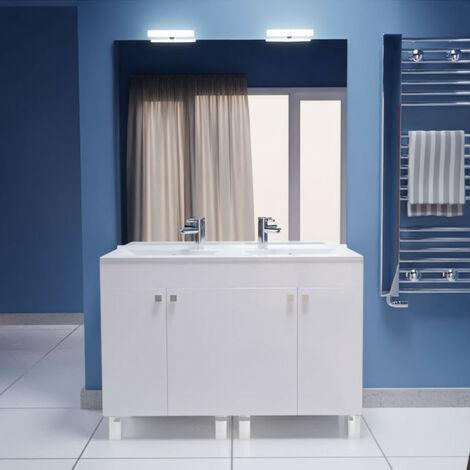 Meuble ECOLINE 120 cm avec plan vasque et miroir - Blanc brillant