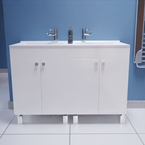 Caisson double vasque ECOLINE 120 - Blanc brillant