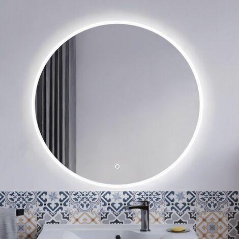 Miroir ONDE Ø 80cm - éclairage LED, système anti-buée et interrupteur sensitif
