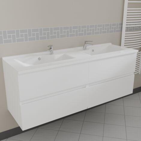 Caisson double vasque ROSALY 140 - Blanc brillant