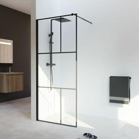 Paroi de douche industrielle noire Atelia verre 8 mm - 90x200 cm